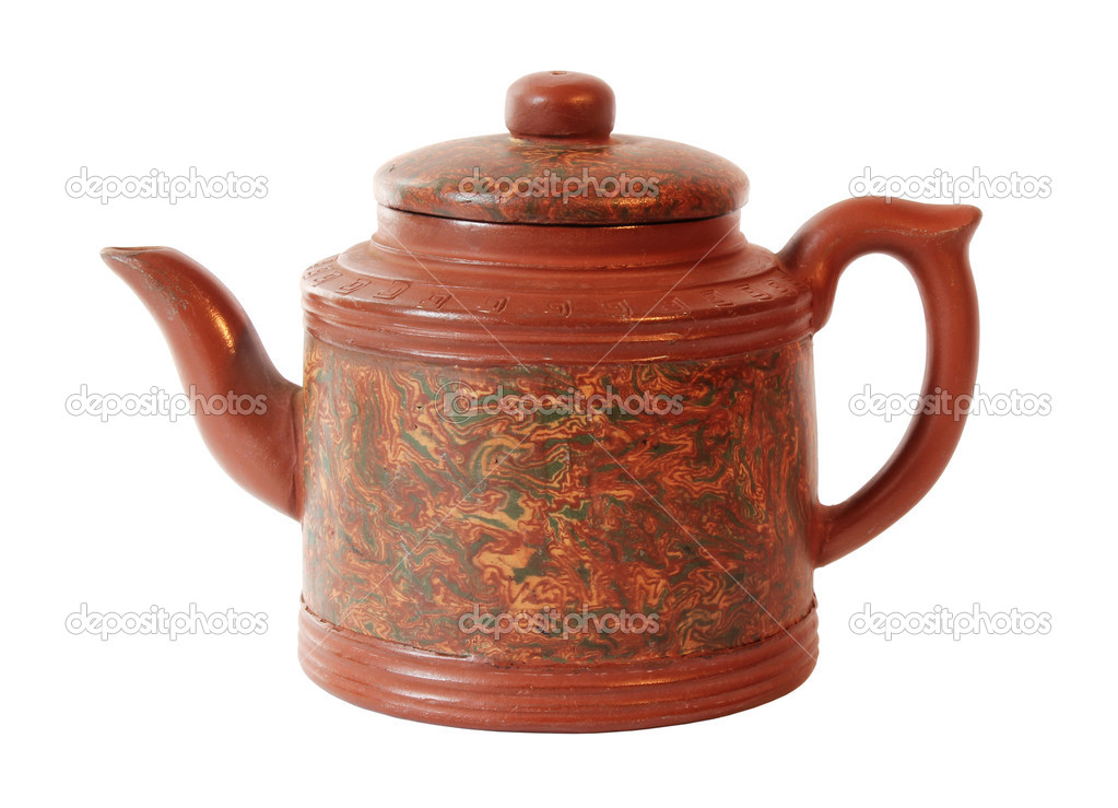 Chinese Red Ceramic Teapot Isolated on White Background — Stok fotoğraf #11142059