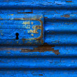 Lockable blue awning — Stock Photo