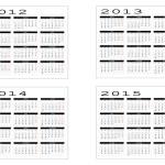 Calendar from 2012 to 2015 — Stock Vector