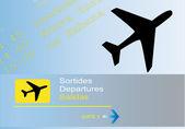 Scheda di informazioni di partenza presso l'aeroporto — Vettoriale Stock