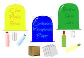 Contenitori riciclati — Vettoriale Stock