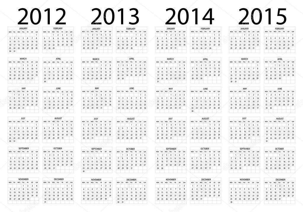 Календарь с 2012 по 2015 год.  Стоковая иллюстрация.