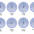 Time in different cities of the world — Stock vektor