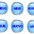 Buttons with the word new — Stock Vector