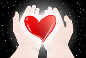Heart in hands — Stock Vector
