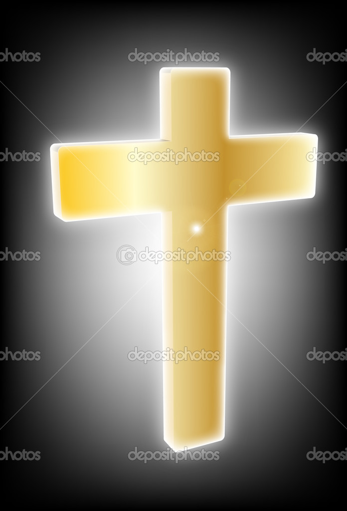 Gold cross on a black background  — Stock Vector #11331371
