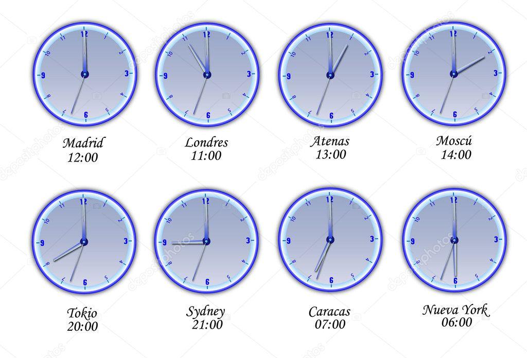 время в разных городах мира