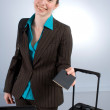 Smiling Business Woman at Check-in — Stock fotografie