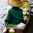 Damnoen Saduak Floating Market Vendor, Bangkok, Thailand - Stock Photo