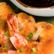 Fried Prawns and Sauce - Stock Photo