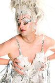 Silber drag-queen — Stockfoto