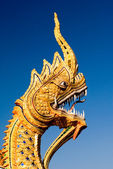 Ornate detail of a Naga at a Wat in Chiang Mai, Thailand. — Stock Photo