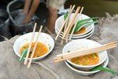 Damnoen Saduak Floating Market Food Stall dishes, — Stock Photo