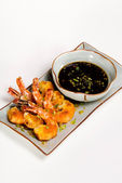 Breaded shrimp with asian dipping sauce Appetizer Tray — Stock Photo