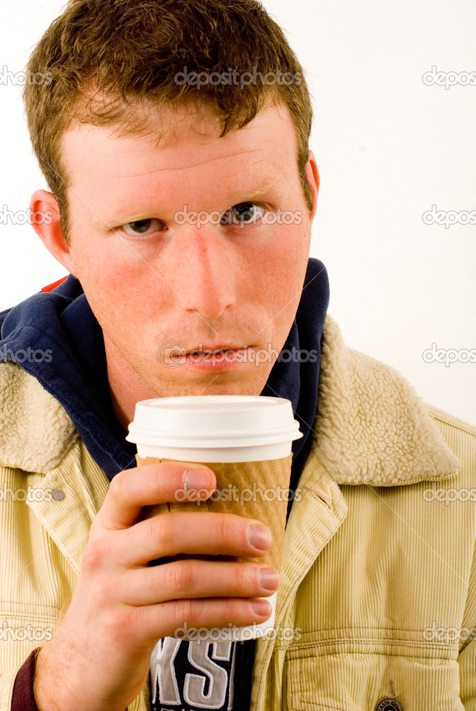 This image shows a young Coffee Addict — Stock Photo #11000755