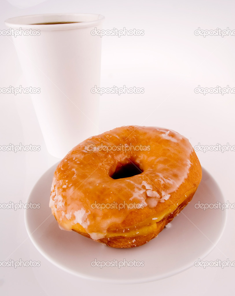 This image shows a Take-away Coffee and Donut — Stock Photo #11001518