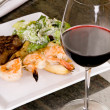 Steak and Seafood dinner with Wine — Stockfoto