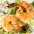 Skewer Prawns and Ceaser Salad — Stock Photo