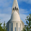 Hallgrimskirkja Church and Statue- Reykjavik, Iceland — Stock Photo #11086351