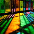 Colorful Stained Glass Pattern (Palais des Congres - Montreal, C - Stock Photo
