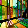 Stock Photo: Colorful Stained Glass Pattern (Palais des Congres - Montreal, C