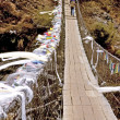 Stock Photo: Everest Trek Suspension Bridge