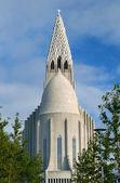 Hallgrimskirkja Church and Statue- Reykjavik, Iceland — Stock Photo