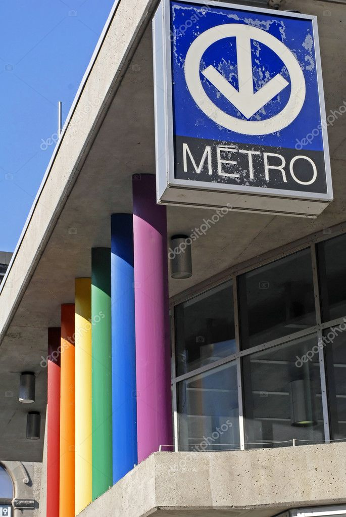 This image was taken in Montreal Canada and show the colorful pride flag entrance to the subway station — Stock Photo #11086743