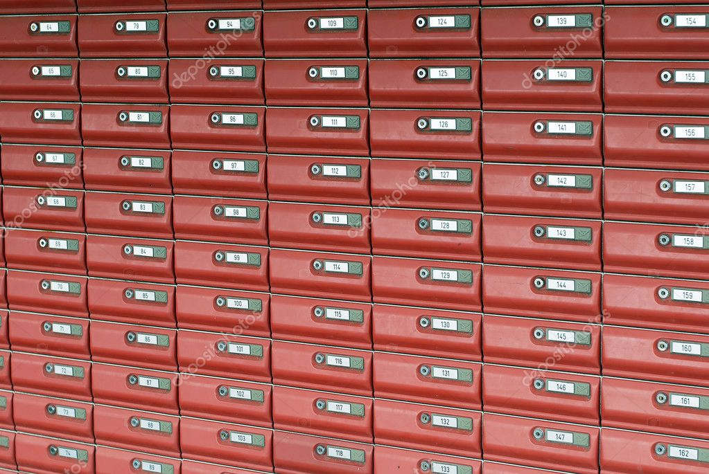 This image shows a bank of mailboxes — Stock Photo #11087903