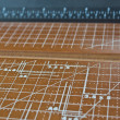 Measuring scale of paper cutter — Stock Photo