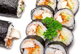 Fresh Sushi prepared on white background — Stock Photo