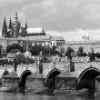 Prauge - Charles bridge and Vitus cathedral — Stock Photo