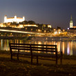 Bratislava - castle and cathedral from riverside - Stock Photo