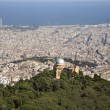 Outlook over Barcelona from Tibidabo hill — Stock Photo