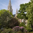 Vienna - Rathaus - Town hall and park - Stock Photo