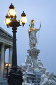 Vienna - Pallas Athena fountain in winter morning — Stock Photo