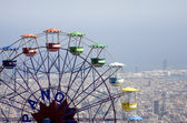 Barcelona - big whell and outlook from Tibidabo — Stok fotoğraf