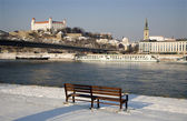 Bratislava - castle and cathedral from riverside in winter — Stock Photo