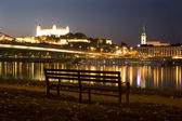 Bratislava - castle and cathedral from riverside — Stock Photo