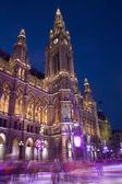 Viyana belediye binası ve kış scating — Stok fotoğraf