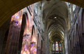 Pague - st. Vitus cathedral - interior in evening light — Stock Photo