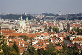 Prague - outlook from castle to old town and st. Nicholas church — Stock Photo