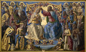 Jesus Christ and coronation of holy mary - paint from Siena church Sata Maria dei Servi — Stock Photo