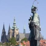 Prague - hl. John the Nepomuk statue from Charles bridge — Stock Photo #10887619