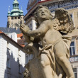 Angel from Prague - baroque Trinity column - at Lesser Town Square, 1713, by Giovanni Batista Alliprandi - Stock Photo