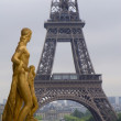 Stock Photo: Eiffel tower and sculptre form Trocadero