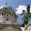 Stock Photo: Budapest - statue of Prince Eugene and castle cupola