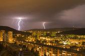 Bolt over Bratislava - summer storm — Stock Photo