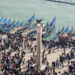 Venice - look from bell tower to st. Mark column and lagoon - Stock Photo