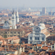 Churches of Venice from bell-tower - San Zaccaria before and San Giorgio dei Grece — Foto Stock